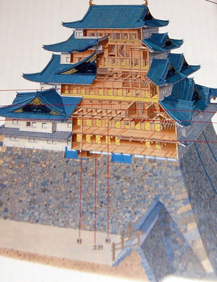 Japanese Castle Building With Illustrated Book From Japan